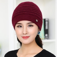 Knitted Beanie Hat for Women Autumn and Winter Warm Hats Mother Cap Fashion Headgear Wool Knit Hat Cashmere Earmuff Winter Caps