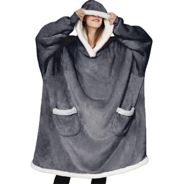 Oversized Hoodies Sweatshirts Wearable Blanket With Sleeves Women Winter Hoodies Blanket Pocket Hoody Sweat Robe Casaco Feminino 1