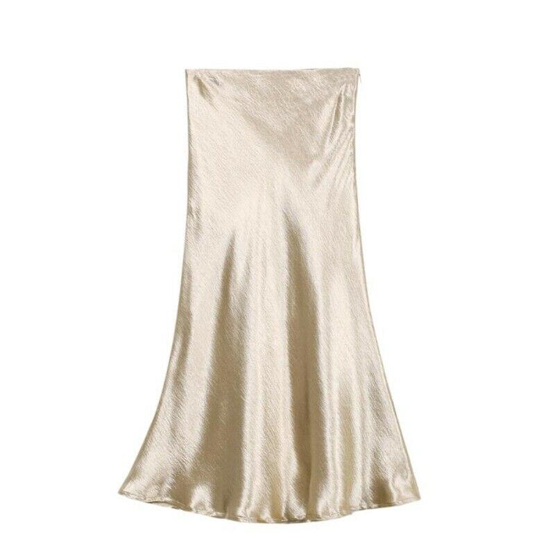 Hirigin Fashion Women Glossy Skirts Metallic Stain Shiny Wet Look High Waist Midi Skirt Emulation Silk High Quality Female