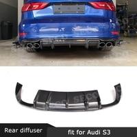 Carbon Fiber Rear Lip Spoiler Diffuser for Audi A3 Sline S3 Sedan 4 door Not A3 Standard 2014 2016 Car Styling