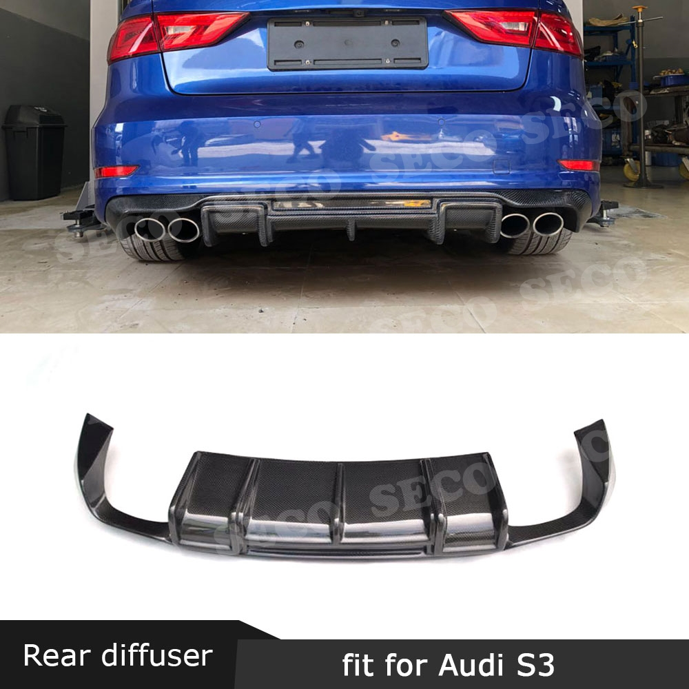Carbon Fiber <font><b>Rear</b></font> Lip Spoiler <font><b>Diffuser</b></font> for <font><b>Audi</b></font> <font><b>A3</b></font> Sline S3 Sedan 4 door Not <font><b>A3</b></font> Standard 2014 - <font><b>2016</b></font> Car Styling image