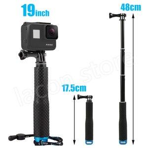 Image 5 - 43in الألومنيوم الغوص Monopod ل GoPro بطل 6 5 7 8 9 الأسود ترايبود جلسة Sjcam Sj7 يي 4K عمل كاميرا Selfie عصا ل الذهاب برو