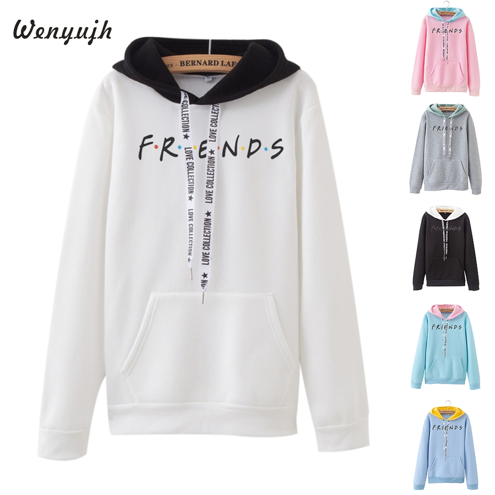 Wenyujh 2019 Fashion Streetwear Printed Letter Friends Solid Hoodie Women Harajuku O Neck Pullover Hooded Sweatshirt Loose Tops