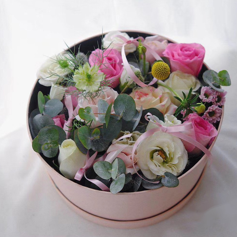 Nouvelle boîte cadeau fleur ronde avec boîte cadeau à la main sac câlin ronde boîte à fleurs en pvc avec boîte cadeau à la main cadeau décoration de mariage - 5