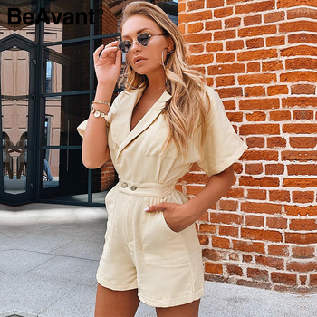 BeAvant Solid Beige Women Short jumpsuit romper High Waist Casual Playsuit Cotton Female Spring summer V Neck Sexy overalls 2020 2