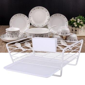 Dish Drainer Drying Rack Kitchen Storage Organizer Metal Wire Kitchen Sink Holder Tray Plates Bowl Cup Tableware Shelf Basket