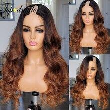 Парики Topodmido U-Part для женщин, парики из человеческих волос с эффектом омбре, бразильские волосы без повреждений, размер 2*4, U-образные парики, в...