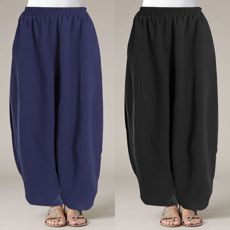 Plus Size Women's   Wide     Leg     Pants   ZANZEA 2019 Vintage Cargo Pantalones Mujer Office Work Long Trousers Casual Loose Streetwear