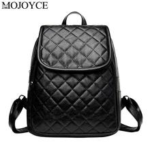 Fashion Women Plaid Leather Backpacks High Quality  Casual Teen Girls School Travel Shoulder Bags Daily