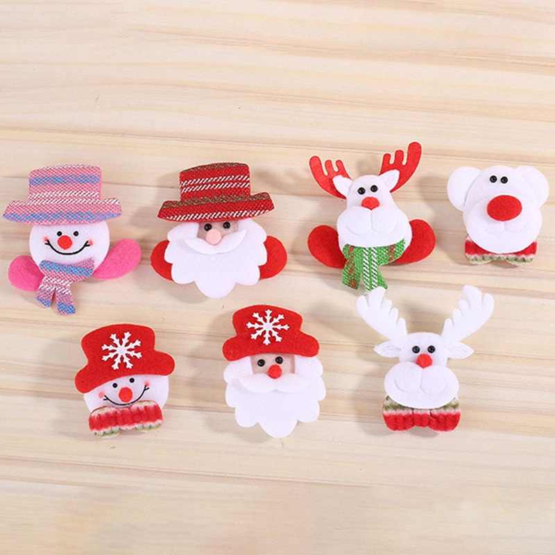 8 kinds of badges Christmas luminous pin LED lights pin hairpin plush Santa snowman elk bear deer doll decorations party jewelry
