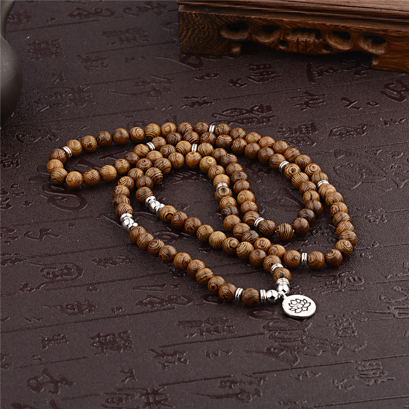 Multilayer 108 Wood Beads Lotus OM Bracelet Tibetan Buddhist Mala Buddha Charm Rosary Bracelet Yoga Wooden For Women Men Jewelry