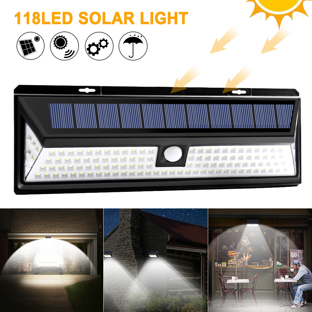 118 LED Solar Light PIR Motion Sensor Outdoor 3 Modes Solar Wall Lamp IP65 Waterproof Energy Saving Security Garden Yard Lights