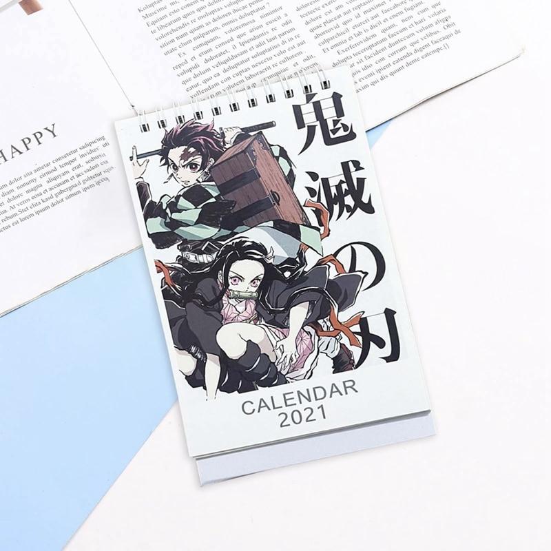 2021 Anime Demon Slayer Kimetsu No Yaiba Desk Calendar Kamado Tanjirou Cartoon Figure Desk Calendars Daily Schedule Planner 4