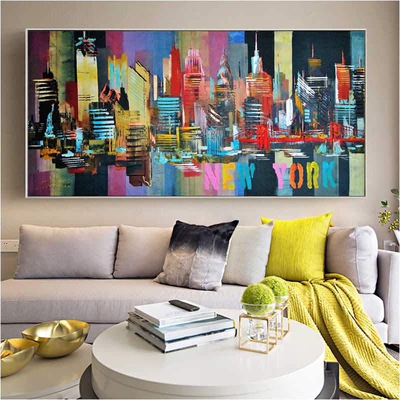 SELFLESSLY New York Skyline Abstract City Painting Canvas Print For Living Room Wall Art Modern Building Decoration Quadros