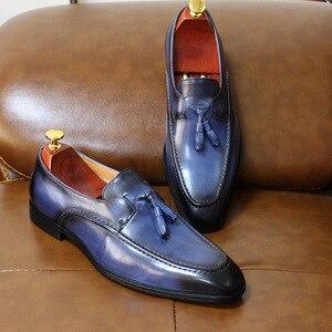 Image 3 - Tamanho 6 13 dos homens borla mocassins feitos à mão couro genuíno marrom formal sapatos festa de casamento dos homens vestido sapatos azul calçados casuais