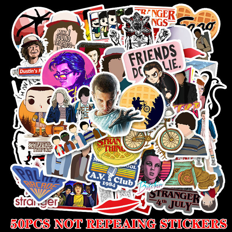50pcs/pack Sticker No Duplicate Stranger Thing Sticker Children On Laptop Suitcase Guitar Skateboard PVC Cool Fashion Stickers