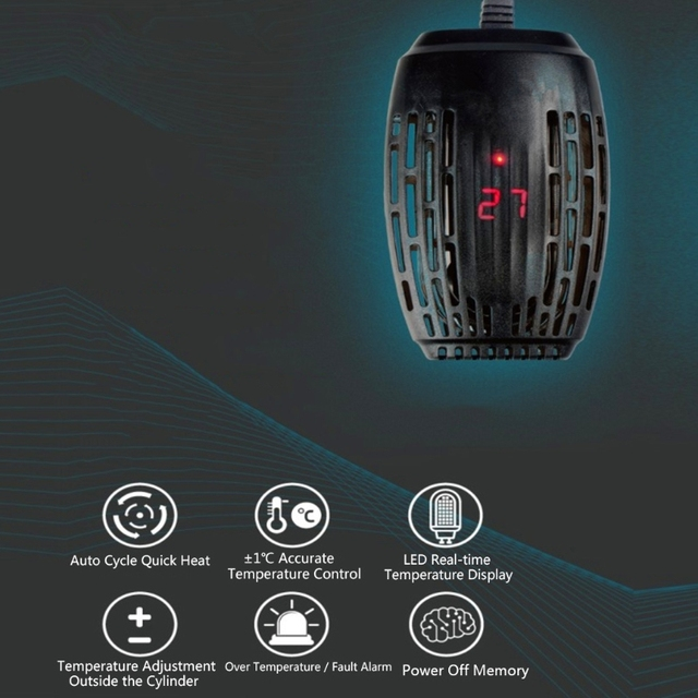Chauffage pour Aquarium, Submersible, jauge de Thermostat, affichage numérique LED, tige chauffante, pour tortue, 25W/50W/75W/100W