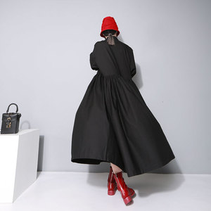 Image 4 - [EAM] Women Bandage Bow Split Joint Pleated Big Size Dress New Lapel Long Sleeve Loose Fit Fashion Tide Spring Autumn 2020 1D752
