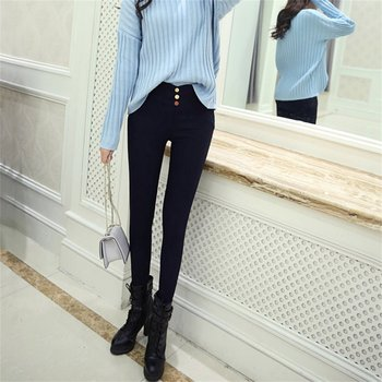 Summer women's High Waist with 3 Button Decoration skinny Ankle-length Bottoming Pants Pencil Pants Legging Fashion Skinny Pants фото