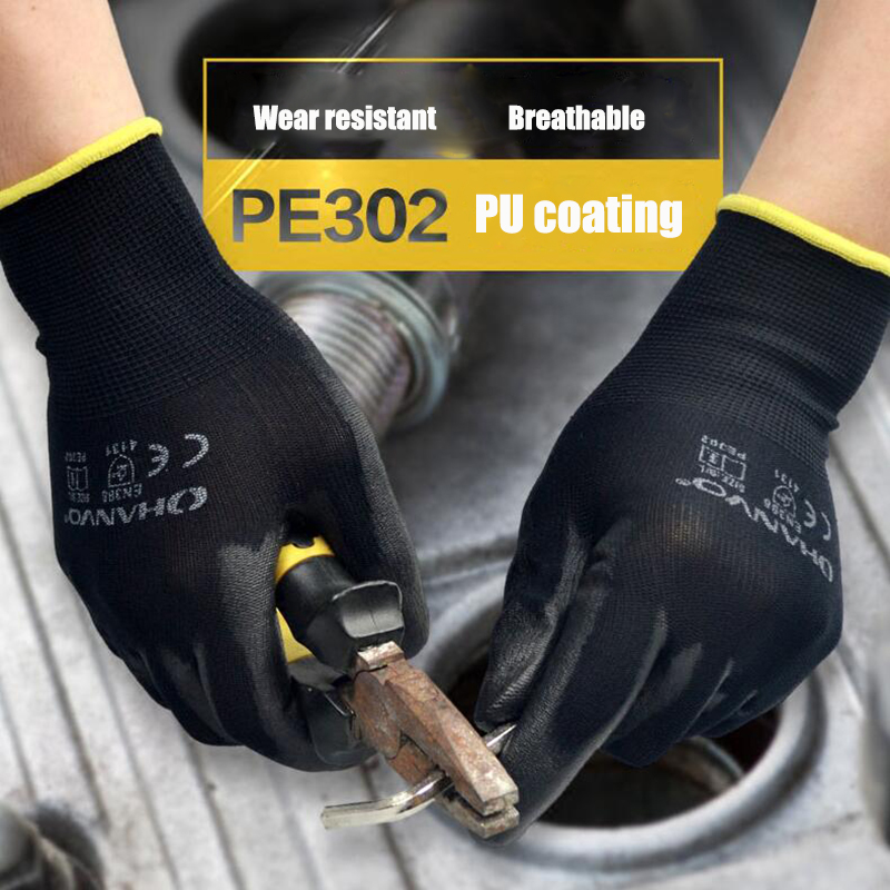 1 Pairs PU Nitrile Safety Coating Work Gloves Palm Coated Gloves Mechanic Working Gloves Have CE Certificated EN388
