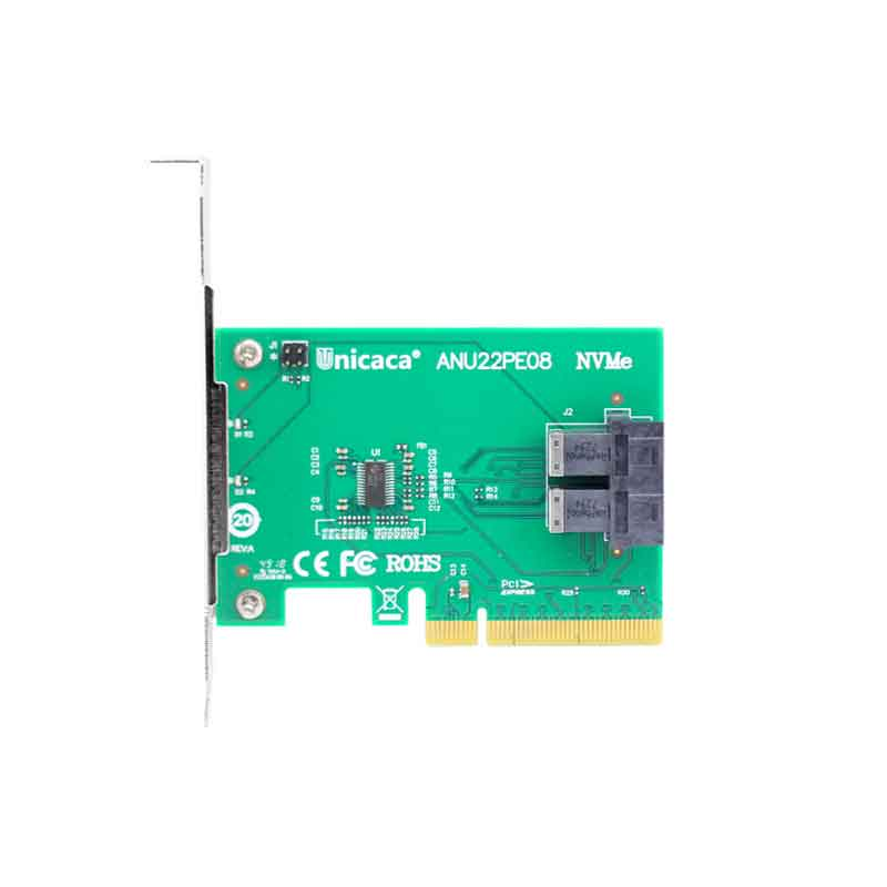 Ceacent NVMe Controller SSD Riser 12Gbs ANU22PE08 SFF8643 Connector Dual Port PCIe X8 Sff8643 To Sff8639 (ssd Not Include)
