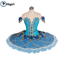 Adult professional ballet tutu blue girls for kids platter nutcracker costumes BT9061