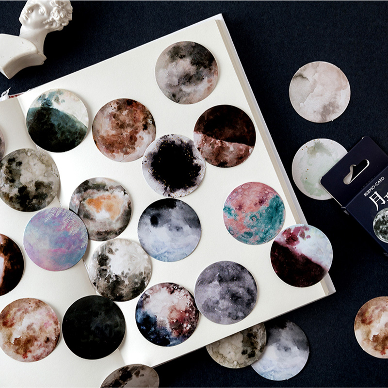 46 pcs /Box Fantastic Moon Planets Decorative Adhesive Stickers DIY Scrapbooking Photo Sticker