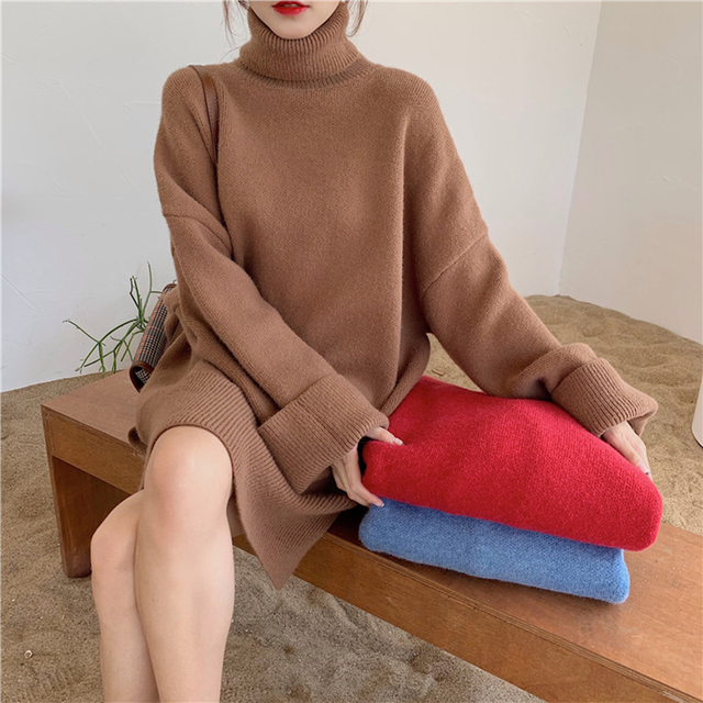 Ailegogo Autumn Winter Women Turtleneck Long Sweater Casual Female Knitted Loose Fit Pullovers Thick Warm Knitwear Ladies Tops 1
