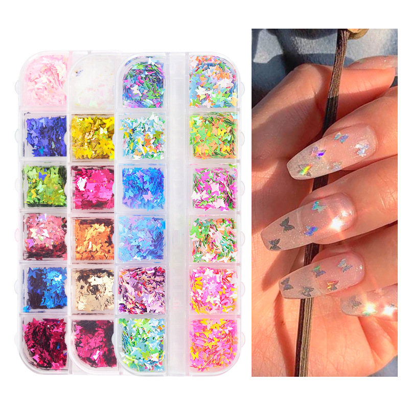 12 Grids/set Fluorescence Butterfly Nail Sequins Colorful Mixed Butterfly Round Thin Flakes 3D Nail Supplies Nail Art Decoration