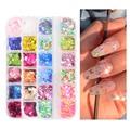 Флуоресцентная бабочка, 12 ячеек/комплект, разноцветная бабочка, круглые тонкие хлопья, 3D принадлежности для ногтей, украшение для дизайна н...