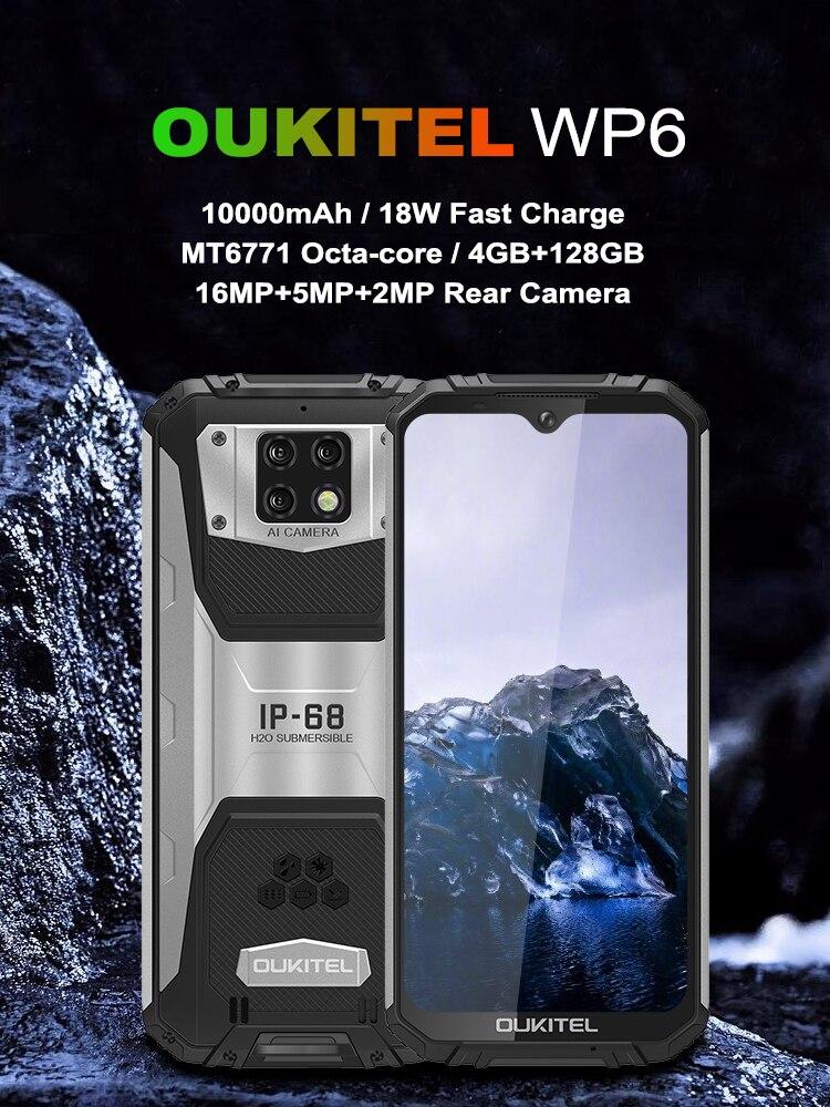 OUKITEL WP6 10000mAh 6.3'' FHD+ IP68 Waterproof Mobile Phone 4GB 128GB Octa Core 16MP