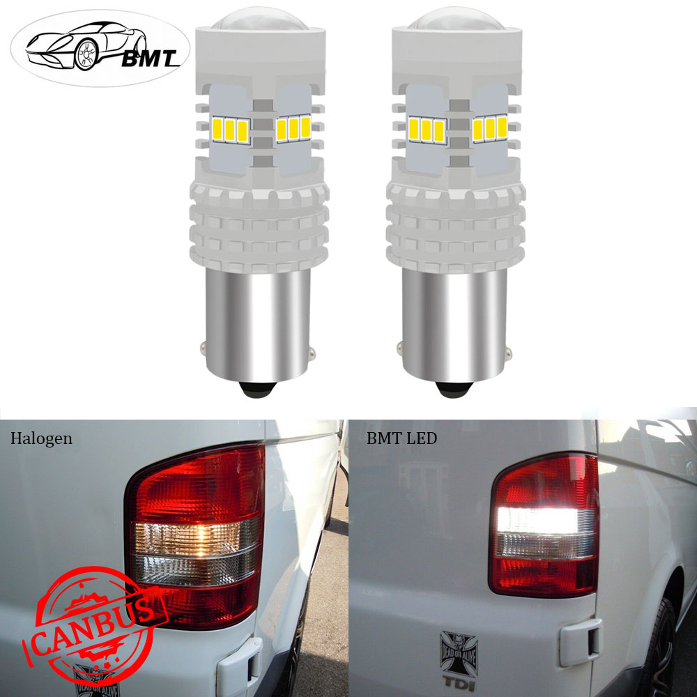 BMT Canbus <font><b>No</b></font> <font><b>Error</b></font> <font><b>P21W</b></font> <font><b>LED</b></font> DRL Backup Reverse Light Lamp For VW Volkswagen T4 T5 T5.1 T6 Transporter Xenon White 1500LM image