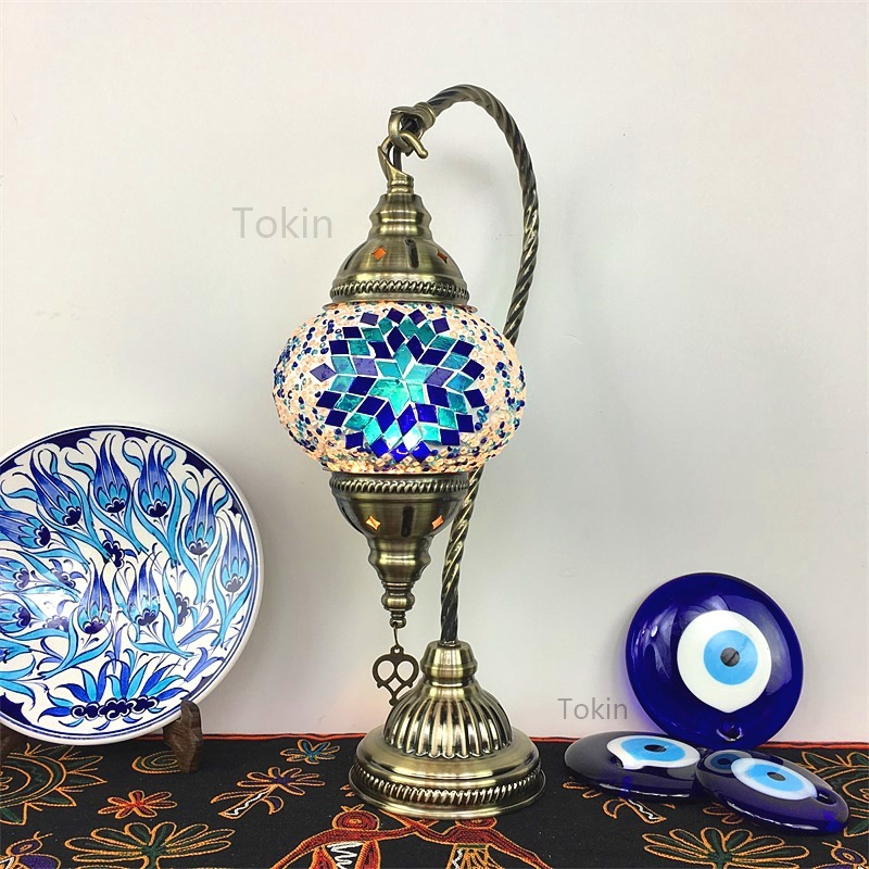 Morocco Table Lamp Retro Romantic Night Lamp Bedroom Restaurant Bar Turkish Hand Made Glass Table Lamp