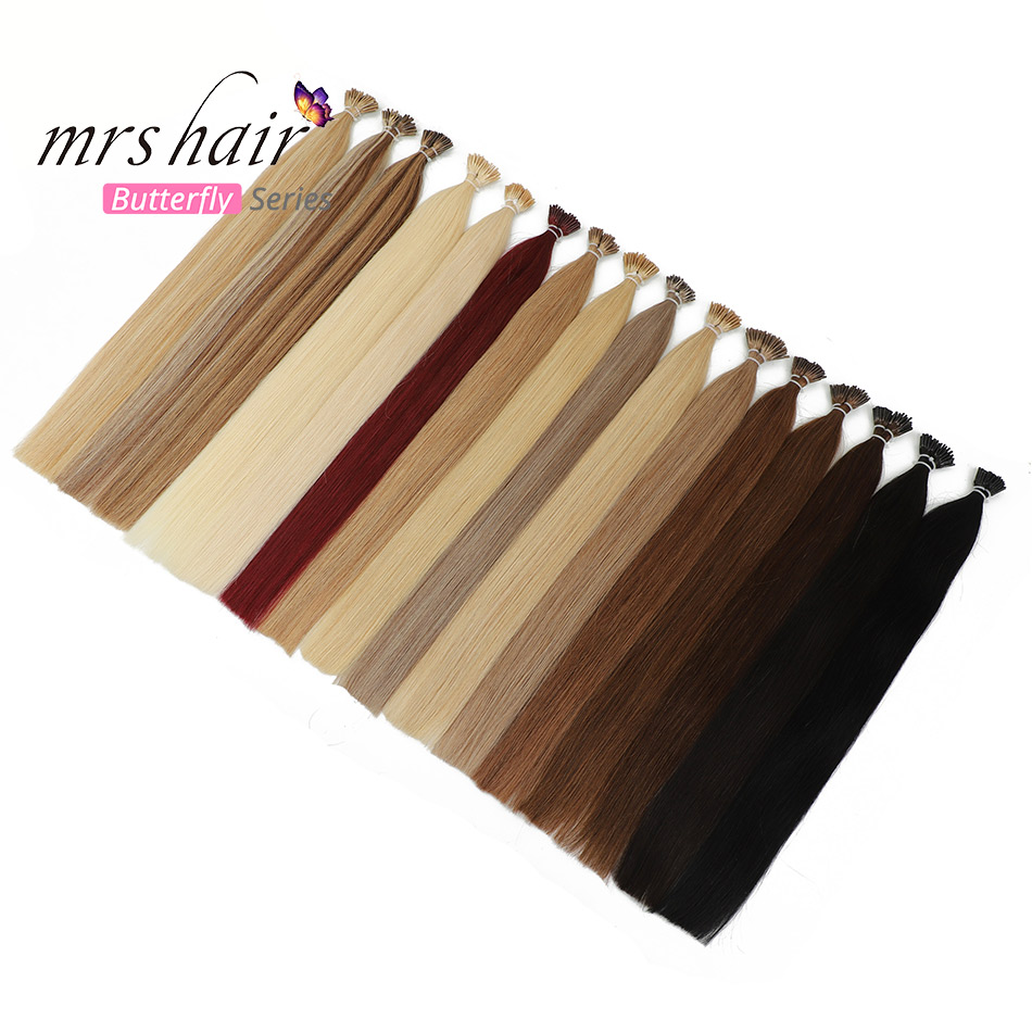 MRSHAIR Short Human Hair I Tip Pre Bonded Hair Extensions Straight Bonding Machine Made Remy Hair Shoelace 0.5g 50pcs