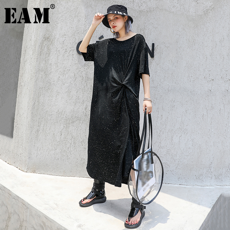 [EAM] Women Black Knot Split Joint Big Size Midi Dress New Round Neck Short Sleeve Loose Fit Fashion Spring Summer 2020 1S061