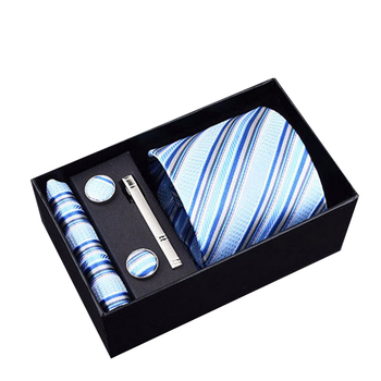 Gift box Packing 8 cm 100% Silk Necktie Blue Striped  Luxury Ties for Men High Quality Mens Cravata Classic