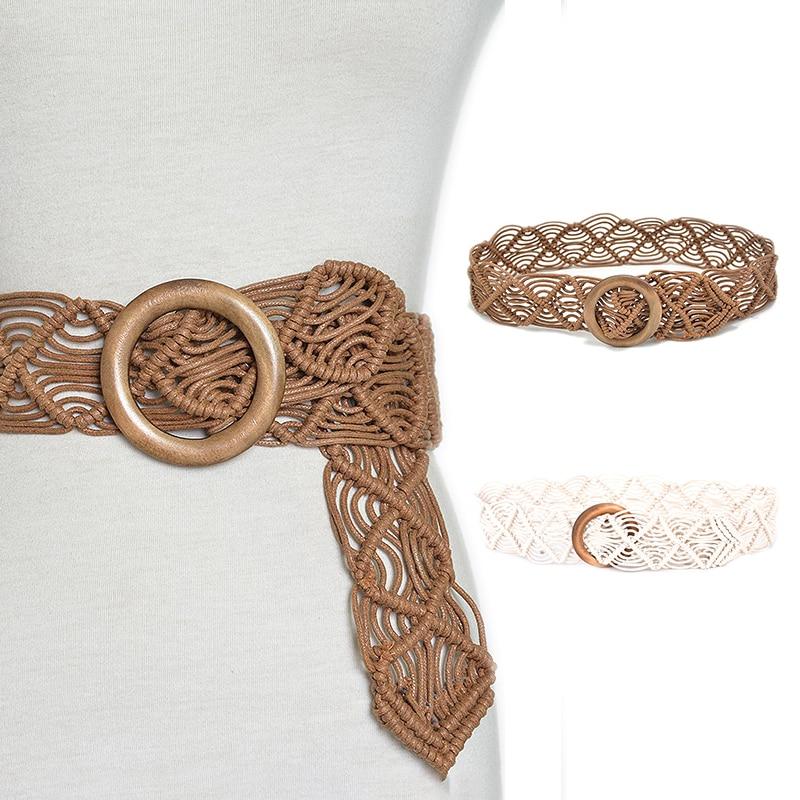 New Vintage Wide Bohemian Belts Women Round Wood Buckle Female Casual Dress Belt