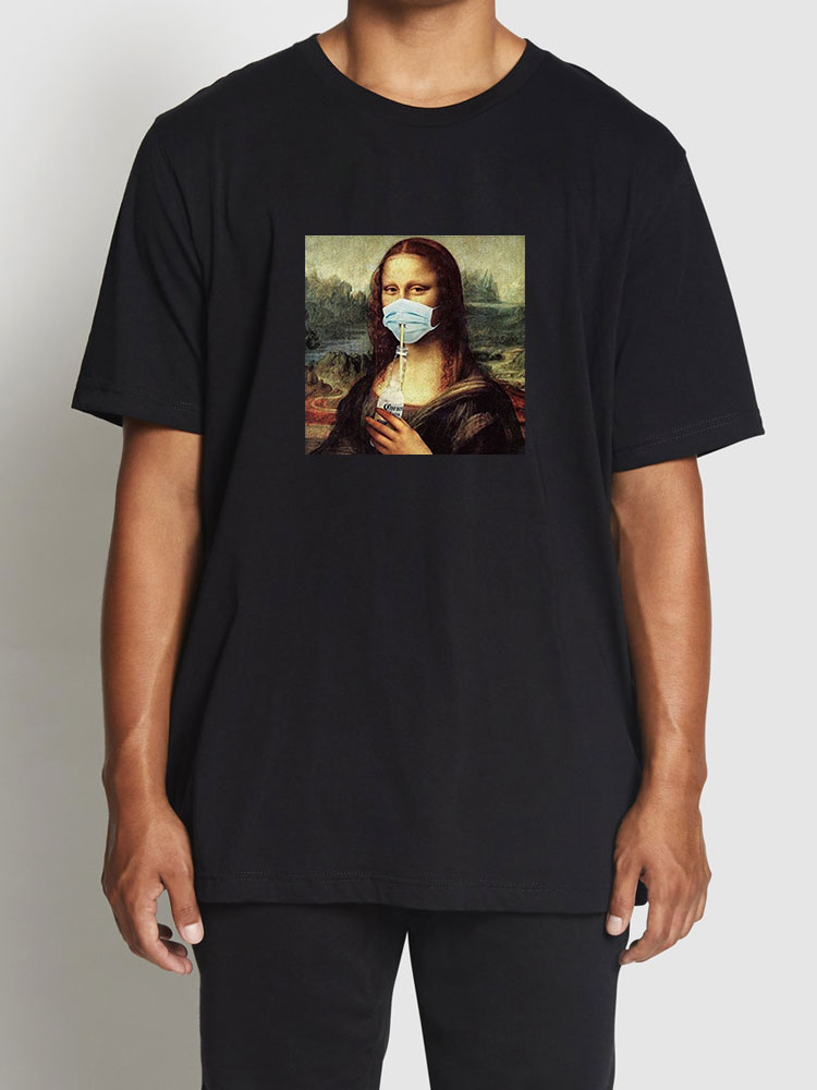 COOLMIND 100% cotton funny mona lisa marks print cool men T shirt casual summer fashion men tshirt street wear male tee shirt