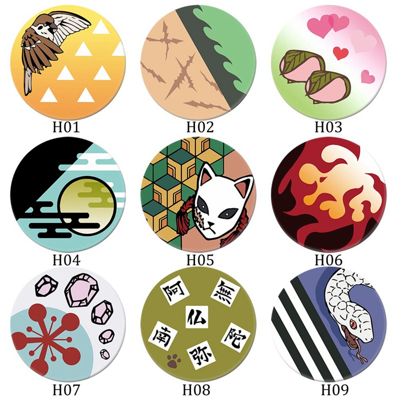 Demon Slayer: Kimetsu No Yaiba Badge Cartoon Character Brooch Pins Collection Bags Button Badges Cosplay Anime Accessory