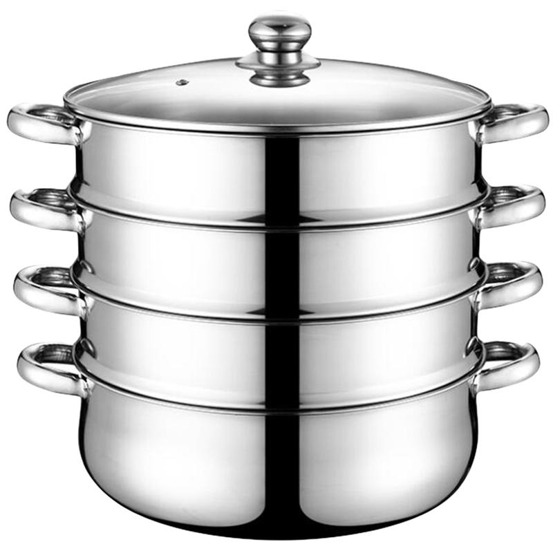 Steamer Pot Stainless-Steel Kitchen 28cm Household for Home 1pc Stockpot Four-Layer Multifunction