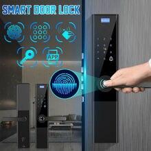 Bloqueo Digital biométrico de huellas dactilares sin llave Aplicación de bloqueo de puerta inteligente + táctil + contraseña + llave + Tarjeta de almohadilla + huella Digital 6 maneras