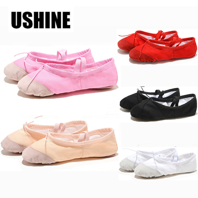 USHINE Soft Black Red White Pink Flat Teacher Ballet Shoes Kids For Girls Women Ballet Shoes Children Canvas Ballirina