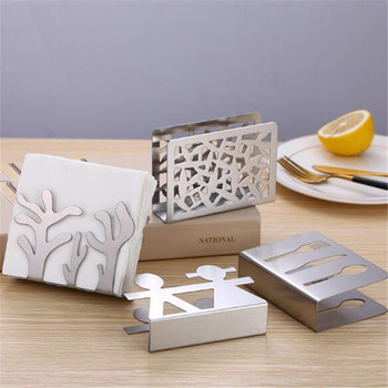 Vertical napkin clip Stainless Steel Napkin Rack Box Tissue Holder Cutlery Floral Hollow-Out Design Table Decoration Tissue Box novel stainless steel triangular paper towel holder rack restaurant vertical napkin clip dining table decoration