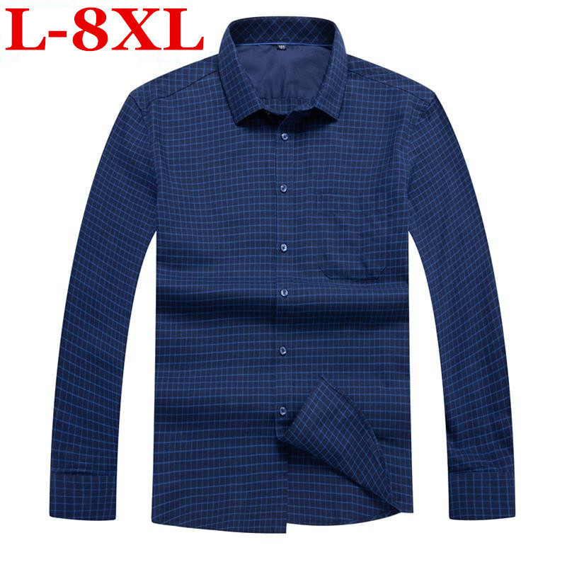 New Big Size 8XL 7XL 5XL 4XL Men Shirt Brand  Male High Quality Long Sleeve Shirts Casual Slim Fit Blue Red Man Dress Shirts