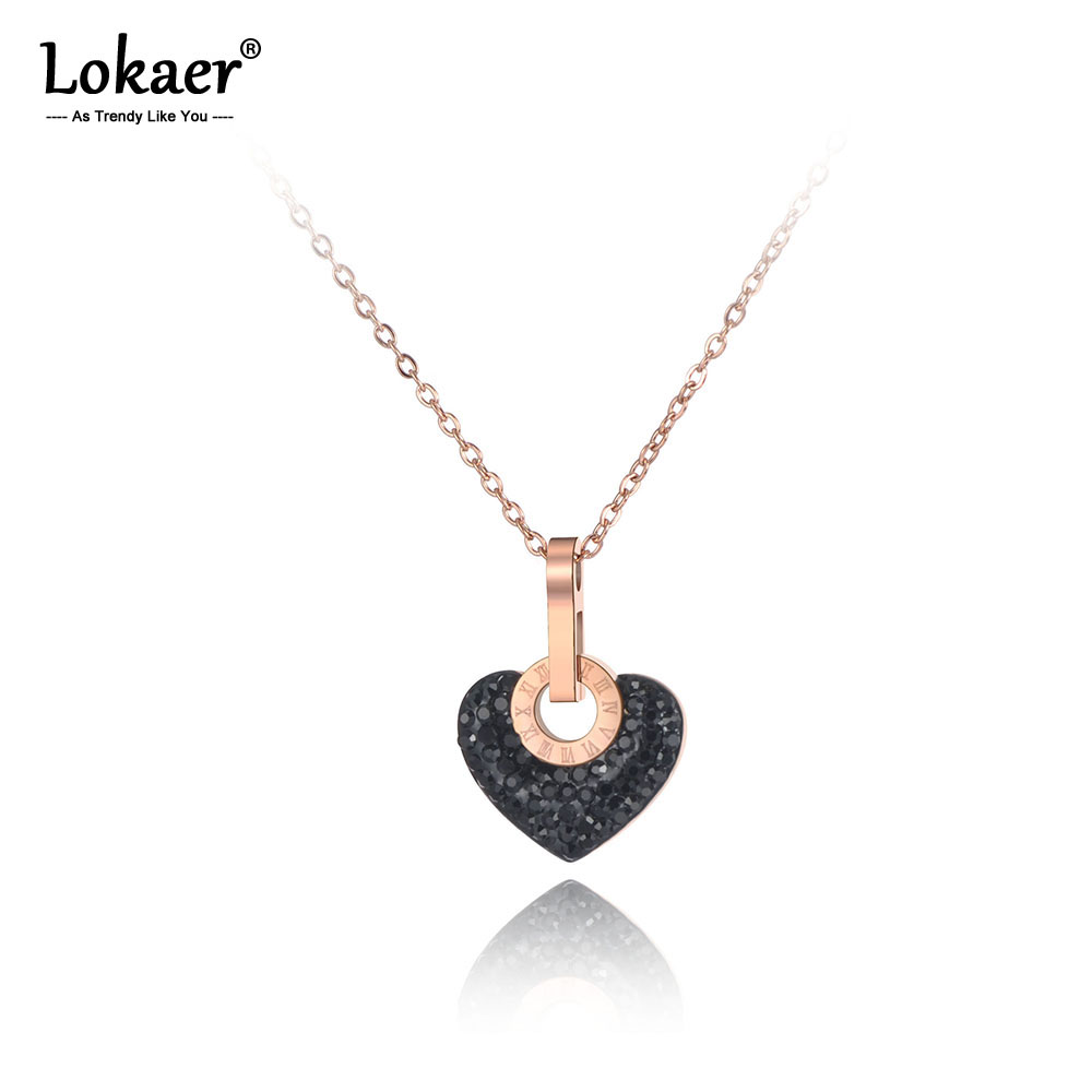 Lokaer Trendy Stainless Steel White/Black Clay Rhinestone Heart Necklace Jewelry Lovely Pendant Chain Necklace For Women N19112