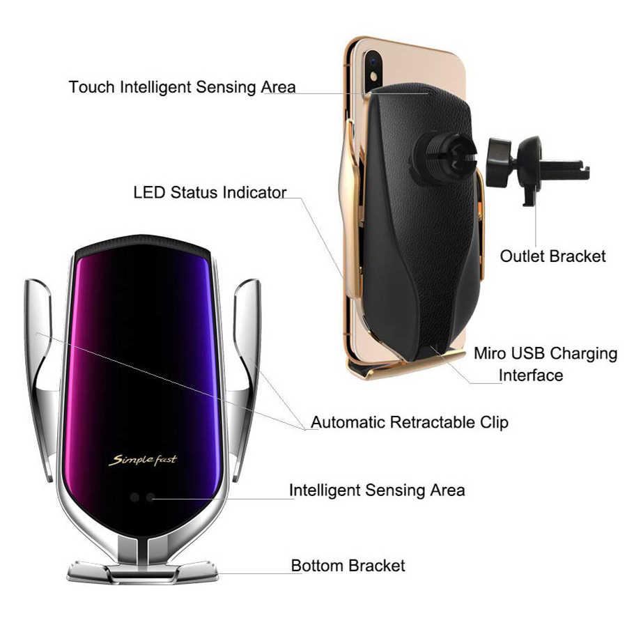 KISSCASE serrage automatique charge rapide support de téléphone de voiture pour iPhone 12 11 8 pour Samsung téléphone portable 10W chargeur de voiture sans fil