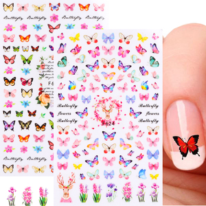 Colorful Butterfly 3D Nail Sticker Wrap Romantic Love Kiss Slider For Nail Adhesive Transfer Nails Accessory Manicure LEF624-629