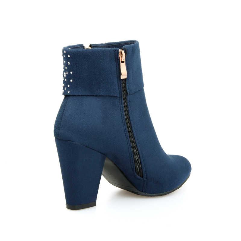 Kadın ayakkabısı, çizmeler yarım çizmeler yuvarlak ayak yüksek topuk büyük boy kadın botları sonbahar bahar için kırmızı siyah mavi botları