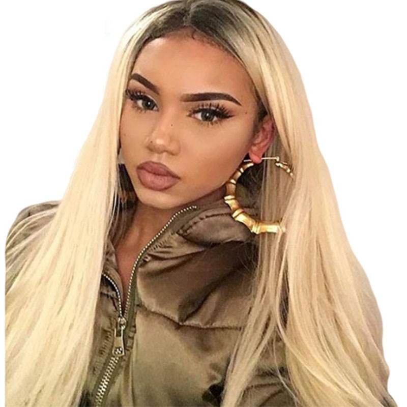 180 Density Brazilian Straight Human Hair Wig 2 Tone Dark Roots 1B 613 Ombre Honey Blonde Lace Front Wig With Baby Hair