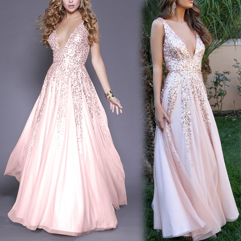 2018 Wish AliExpress Hot Selling Formal Dress Long Skirts Europe And America Foreign Trade New Style Sexy V-neck Sequin Sleevele